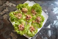 Salmon salad lettuce wrap
